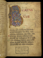 Beatus Page With Illuminated Initial, In A Bilingual Psalter